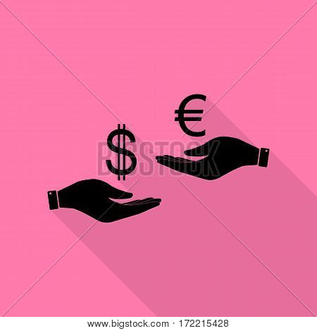 Currency exchange from hand to hand. Dollar adn Euro. Black icon with flat style shadow path on pink background.