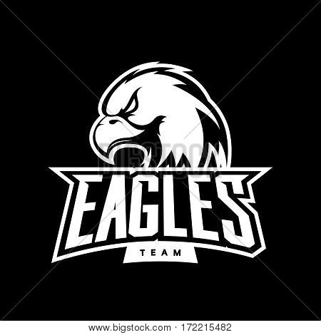 Furious eagle sport mono vector logo concept isolated on dark background. Web infographic professional team pictogram. Premium quality wild bird t-shirt tee print illustrationFurious eagle sport mono vector logo concept isolated on dark background. Web in