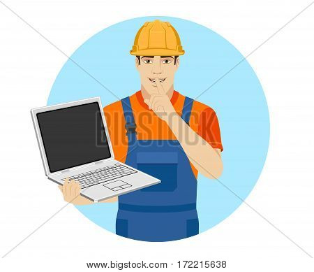 Hush hush. Builder holding a laptop and making hush sign. Portrait of builder in a flat style. Vector illustration.