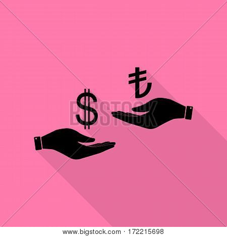 Currency exchange from hand to hand. Dollar and Turkey Lira. Black icon with flat style shadow path on pink background.