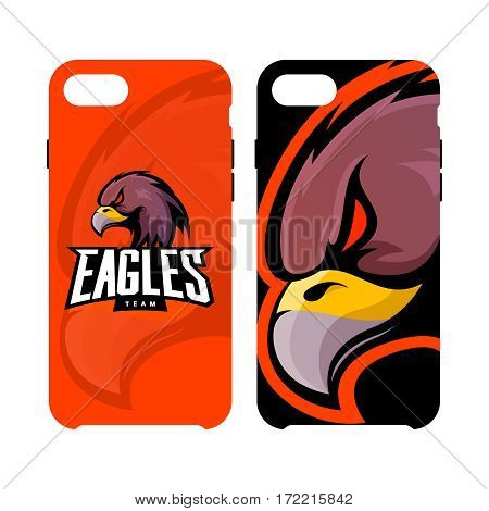 Furious eagle sport vector logo concept smart phone case isolated on white background. Web infographic professional team pictogram. Premium quality wild bird artwork cell phone cover illustration
