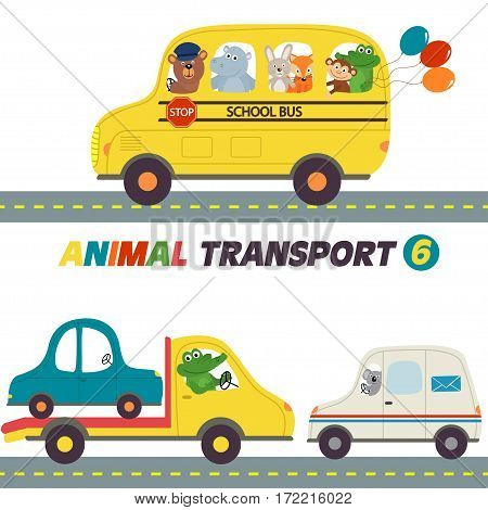 set of isolated transports with animals part 6 - vector illustration, eps