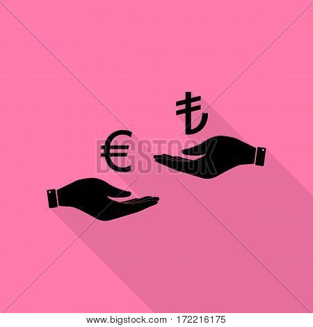 Currency exchange from hand to hand. Euro and Lira. Black icon with flat style shadow path on pink background.