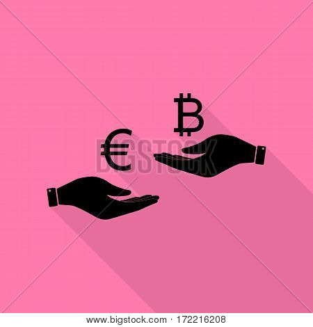 Currency exchange from hand to hand. Euro an Bitcoin. Black icon with flat style shadow path on pink background.