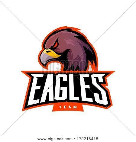 Furious eagle sport vector logo concept isolated on white background. Web infographic professional team pictogram. Premium quality wild bird t-shirt tee print illustration