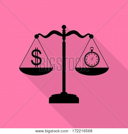 Stopwatch and dollar symbol on scales. Black icon with flat style shadow path on pink background.