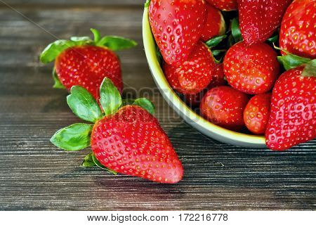 Beautiful fresh and juicy strawberries sprinkled on the dish.