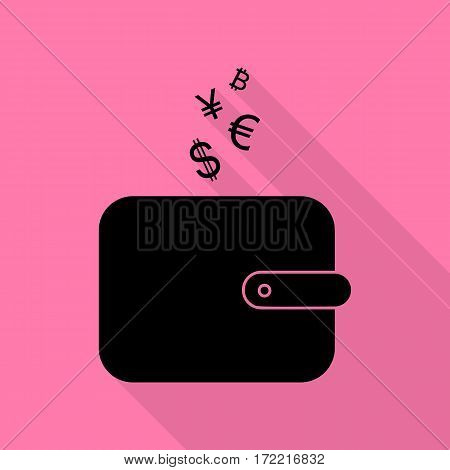 Wallet sign with currency symbols. Black icon with flat style shadow path on pink background.