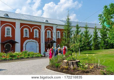 KOSTROMA RUSSIA - JULY 20 2016: Unidentified tourists visit Holy Trinity Ipatievsky male monastery Kostroma Golden Ring of Russia