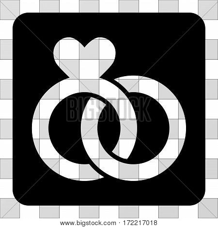 Wedding Rings interface toolbar icon. Vector pictograph style is a flat symbol hole centered in a rounded square shape, black color.