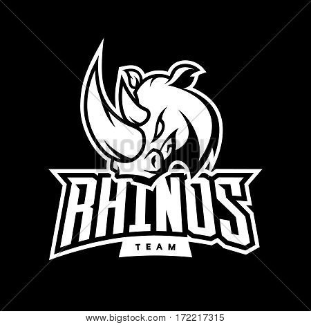 Furious rhino sport mono vector logo concept isolated on white background. Web infographic professional team pictogram. Premium quality wild animal t-shirt tee print illustration