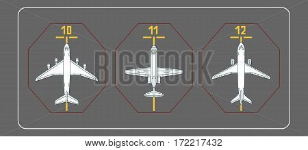 Three airplanes on the terminal apron. Vector illustration. Each object is grouped individually.