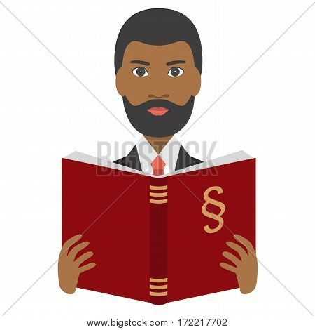Advocate, lawyer reading a law book. Flat vector. Isolated on white.
