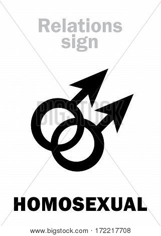 Astrology Alphabet: HOMOSEXUAL Love (Sex between a man and a man). Hieroglyphics character sign (dual gay pair symbol).