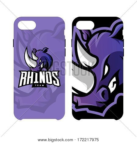 Furious rhino sport vector logo concept smart phone case isolated on white background. Web infographic professional team pictogram. Premium quality wild animal artwork cell phone cover illustration