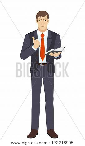 Businessman with pen and pocketbook. Full length portrait of businessman in a flat style. Vector illustration.