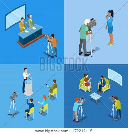Isometric Mass Media Concept with Reporters and Journalists. Vector illustration