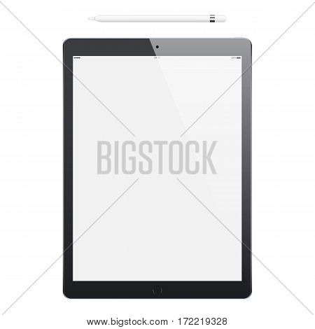 tablet black frosted color and pencil or stylus isolated on white background. stock vector illustration eps10