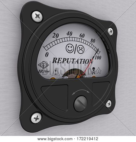 Indicator of reputation. Analog indicator showing the high level of reputation. 3D Illustration. Isolated