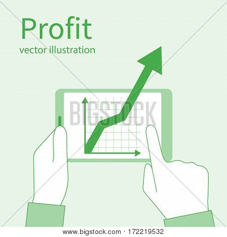 Profit growth investment concept. Increase in profit. Man hold in hands tablet with business chart. Vector flat minimal design. Market analytical data. Analyzing stock market. Financial diagram.