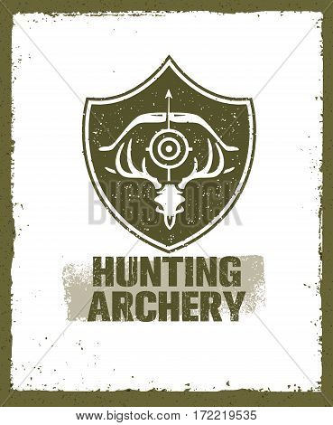 Hunting Archery Outdoor Activity Sign concept. Creative Vector Design Elements On Distressed Background