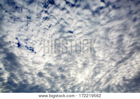 The sky is beautiful panoramic with fancy curly clouds highlighted by the sun. Heavenly background in a highly patterned top. Free space atmospheric flight and freedom.
