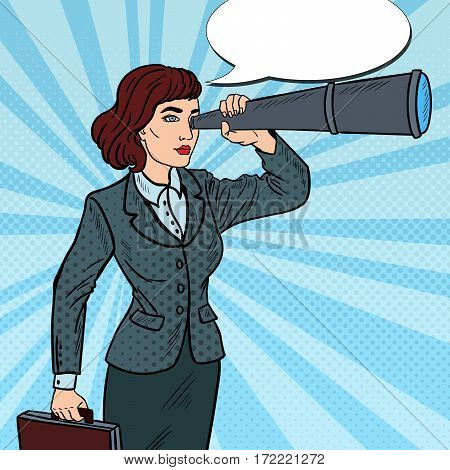 Pop Art Confident Business Woman Looking in Spyglass. Vector illustration