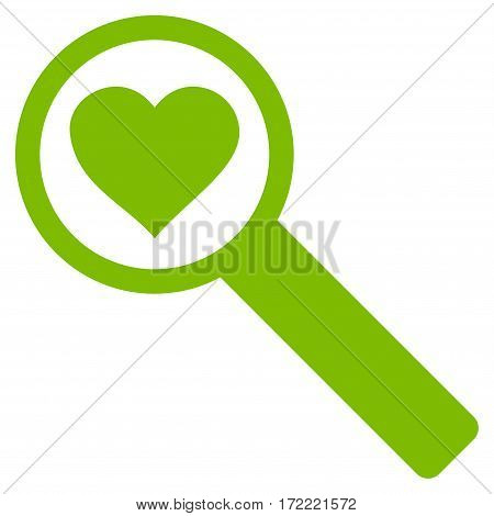 Find Love flat icon. Vector light green symbol. Pictograph is isolated on a white background. Trendy flat style illustration for web site design logo ads apps user interface.