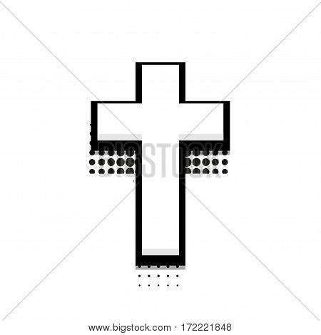 Vector modern halftone cross icon on white background