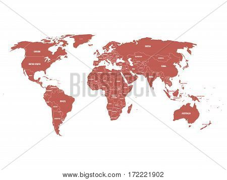 Maroon political World map with country borders and white state name labels. Hand drawn simplified vector illustration.