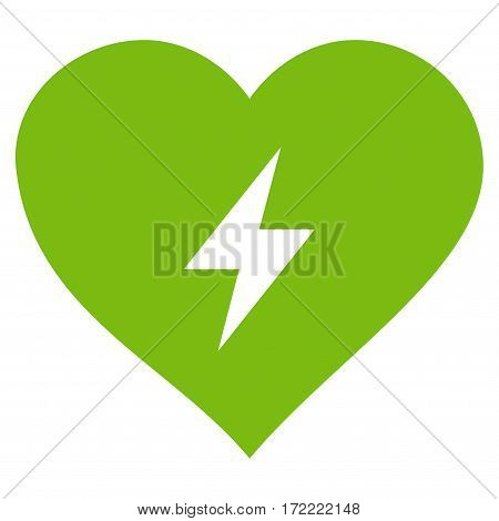 Heart Power flat icon. Vector light green symbol. Pictograph is isolated on a white background. Trendy flat style illustration for web site design logo ads apps user interface.