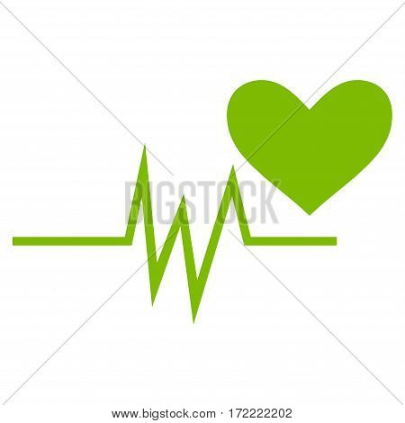 Heart Pulse Signal flat icon. Vector light green symbol. Pictogram is isolated on a white background. Trendy flat style illustration for web site design logo ads apps user interface.