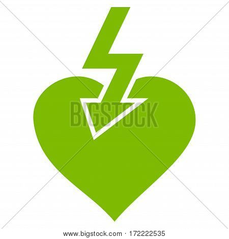 Heart Shock Strike flat icon. Vector light green symbol. Pictograph is isolated on a white background. Trendy flat style illustration for web site design logo ads apps user interface.
