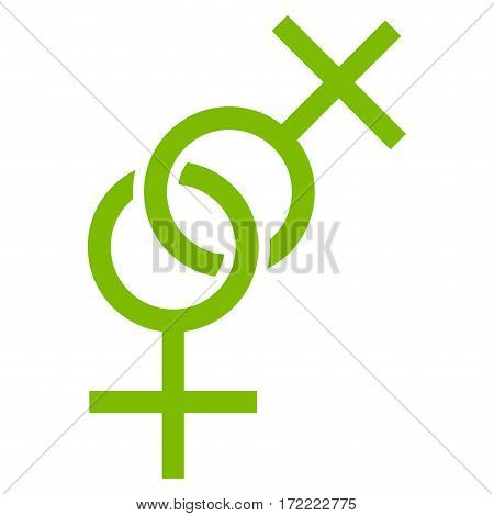 Lesbian Love Symbol flat icon. Vector light green symbol. Pictograph is isolated on a white background. Trendy flat style illustration for web site design logo ads apps user interface.