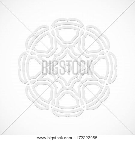 Round modern white pattern simulated by a laser cut-out or cut paper, decorative ornamental for decorating or design element