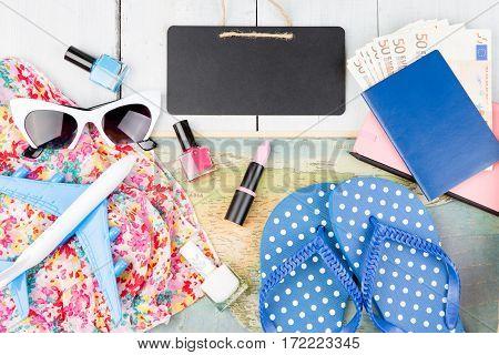Blank Blackboard, Plane, Map, Passport, Money, Sunglasses, Flops And Other Accessories