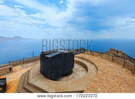 Big anti-ship gun. Castillitos Bateria on Tinoso cape and sea view (Cartagena Spain). Installed between 1933 and 1936.