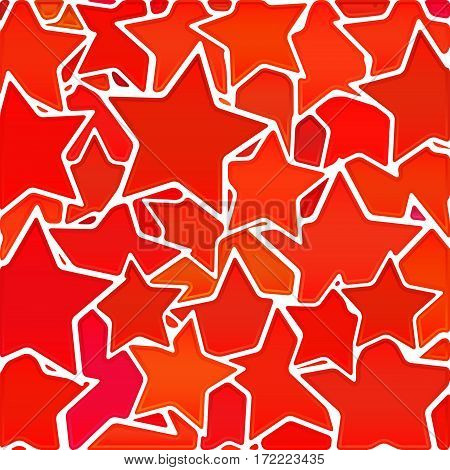 abstract vector stained-glass mosaic background - red and orange stars