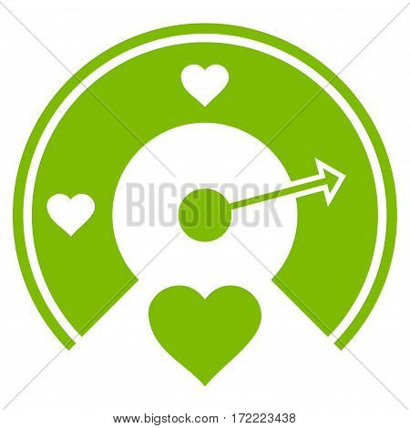 Love Gauge flat icon. Vector light green symbol. Pictograph is isolated on a white background. Trendy flat style illustration for web site design logo ads apps user interface.
