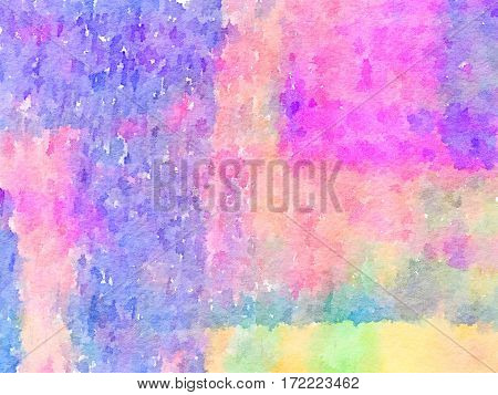 Digital watercolor painting of a pink purple blue green orange and yellow painted abstract background. Can be used as a background for Valentine's Day or Easter.