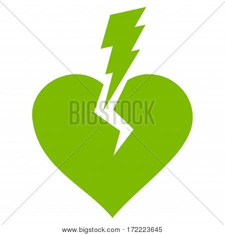Love Heart Crash flat icon. Vector light green symbol. Pictogram is isolated on a white background. Trendy flat style illustration for web site design logo ads apps user interface.