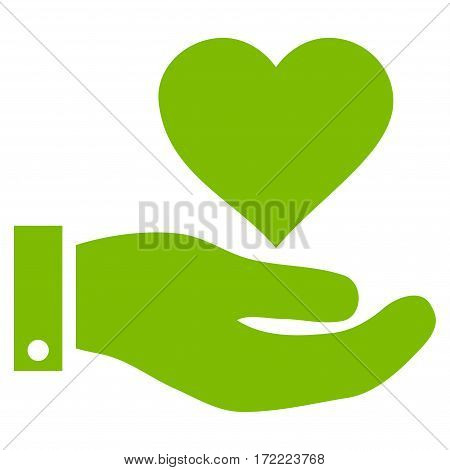 Love Heart Offer Hand flat icon. Vector light green symbol. Pictograph is isolated on a white background. Trendy flat style illustration for web site design logo ads apps user interface.