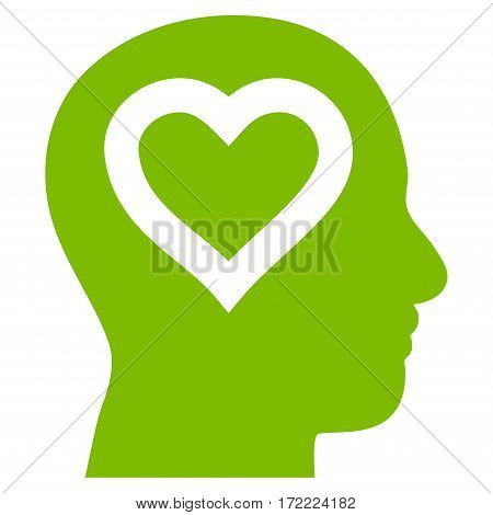 Love In Head flat icon. Vector light green symbol. Pictograph is isolated on a white background. Trendy flat style illustration for web site design logo ads apps user interface.