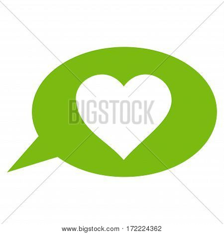 Love Message Balloon flat icon. Vector light green symbol. Pictograph is isolated on a white background. Trendy flat style illustration for web site design logo ads apps user interface.