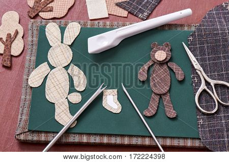Applique tools for fabric and detail of applique