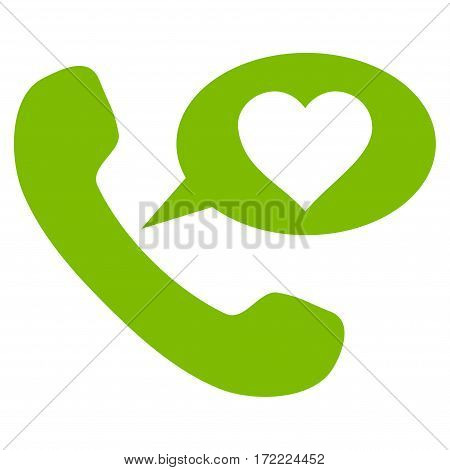Love Phone Message flat icon. Vector light green symbol. Pictogram is isolated on a white background. Trendy flat style illustration for web site design logo ads apps user interface.