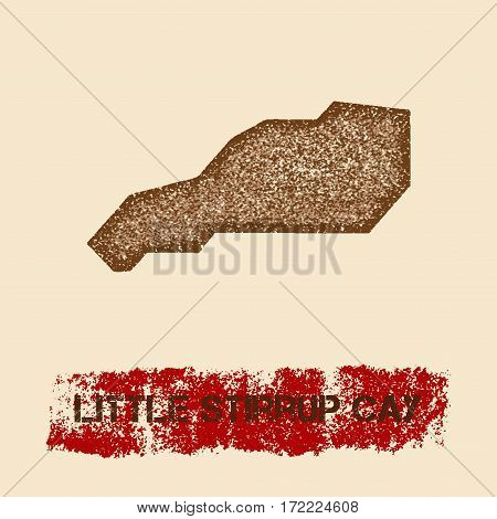 Little Stirrup Cay Distressed Map. Grunge Patriotic Poster With Textured Island Ink Stamp And Roller