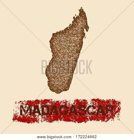Madagascar Distressed Map. Grunge Patriotic Poster With Textured Country Ink Stamp And Roller Paint
