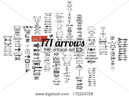 Vector illustration of vintage arrows and design elements in ink hand drawn style.