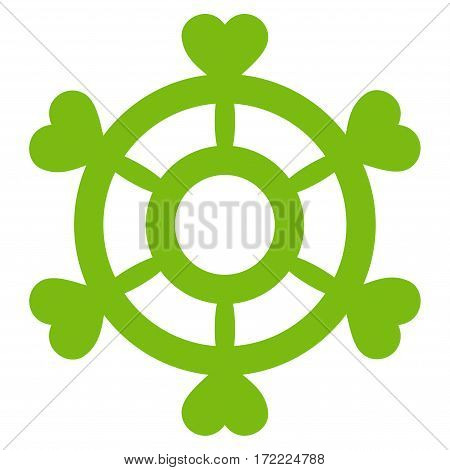 Lovely Boat Steering Wheel flat icon. Vector light green symbol. Pictograph is isolated on a white background. Trendy flat style illustration for web site design logo ads apps user interface.